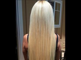 "Blonde, lovely and natural looking ""Thermal Bonding"" hair extensions."